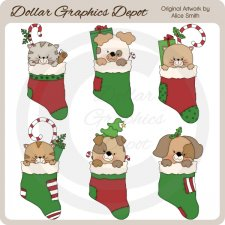 Christmas Stocking Pets - Clip Art - *DCS Exclusive*
