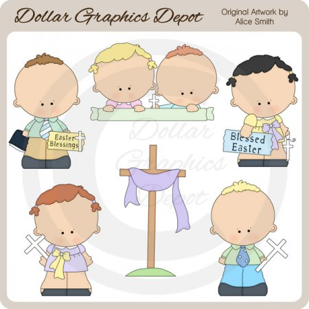 Christian Easter Kids - Clip Art - *DGD Exclusive*
