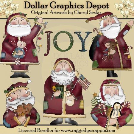 Folkart Santa - Recolored - *DGD Exclusive* - $1.00 : Dollar Graphics ...