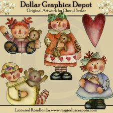 Hand Painted Prim Annies - Clip Art