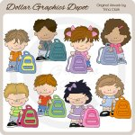Little Backpack Kids - Clip Art