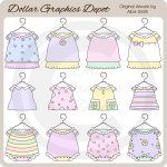 Baby Girl Outfits 2 - Clip Art - *DGD Exclusive*