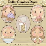 Cupcake & Cookie Girls - Ovals - Clip Art