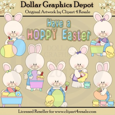 Hoppy Easter Bunnies - Clip Art - *DGD Exclusive*