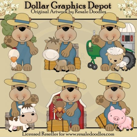 Ole Farmer Bear - Clip Art