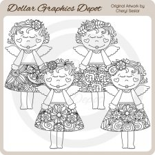 Floral Angels 2 - Digital Stamps