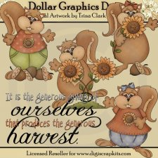 Autumn Squirrels - Clip Art