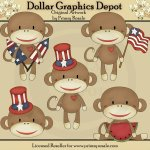 Patriotic Sock Monkeys - Clip Art