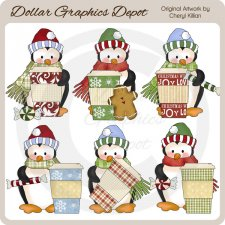 Penguin Cuties - Peppermint Mocha - Clip Art