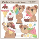 Summer Treat Bears - Clip Art