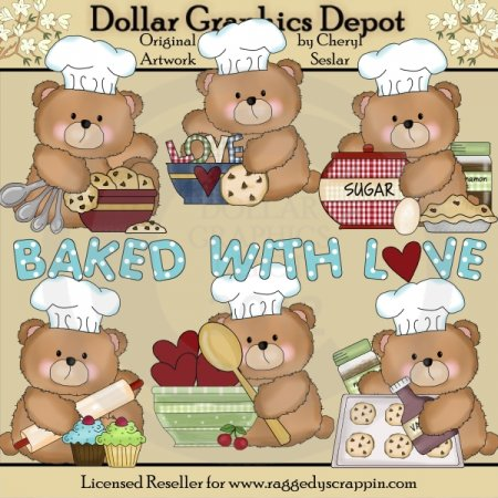 Boo Bears Love To Bake - Clip Art
