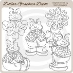Sweet Ladybug Bears - Digital Stamps