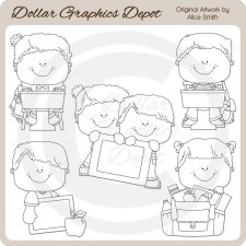 Back To School Kids 4 - Digital Stamps