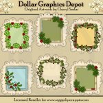 Christmas Greenery Doodle Frames