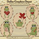 Valentine Frogs - Ovals - Clip Art