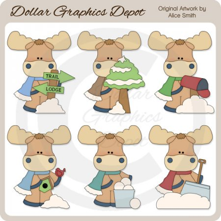 Winter Moose - Clip Art - *DGD Exclusive*