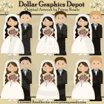 Wedding - Dark Haired Brides - Clip Art