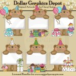 Bulletin Bears - Birthday - Clip Art