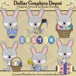 Little Easter Bunnies - Clip Art