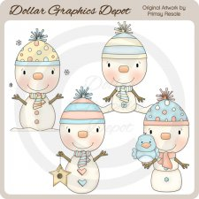 Snow Babies and Birds - Clip Art