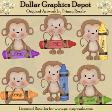 Crayon Monkeys - Clip Art