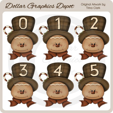 Gingerbread Numbers - Clip Art