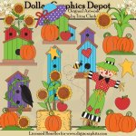Autumn Birdhouses - Clip Art