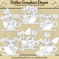 Teacups and Blooms - Digital Stamps