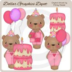 Sweet Birthday Bears - Girls - Clip Art