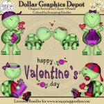 Valentine Turtles - Clip Art
