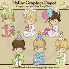 Baby Snuggles - First Birthday - Clip Art - *DGD Exclusive*