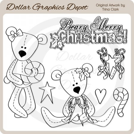 Beary Merry Christmas 1 - Digital Stamps