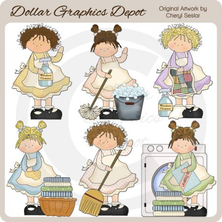 Little Cleaning Beauties - Clip Art