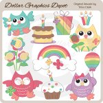 Rainbow Birthday Owls - Clip Art