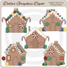 Gingerbread Houses - Clip Art