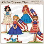 Patriotic Cuties - Clip Art