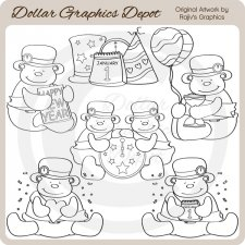 Baby New Year Bears - Digital Stamps