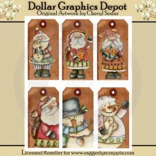 Hand Painted Winter Hodge Podge Tags