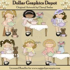 My Little Girl - Tea Party - Clip Art