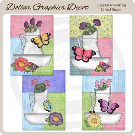 Pretty Butterfly Flower Basin Cards - Printables