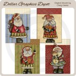 Hand Painted Santa Cards