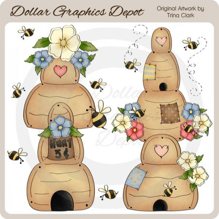 Pretty Beehives - Clip Art