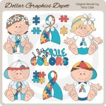 Autism Awareness Babies 1 - Clip Art