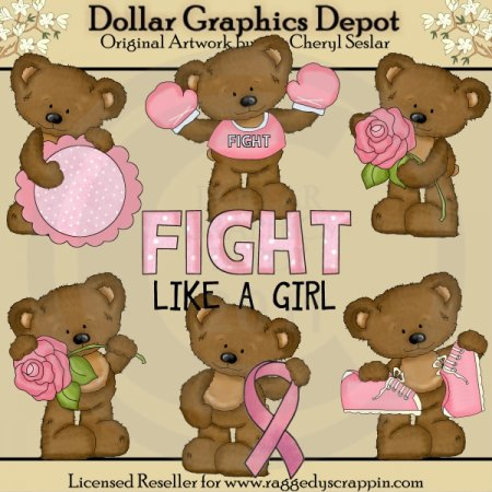 Twila The Breast Cancer Bear - Clip Art