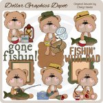 BoBo Bear Goes Fishing - Clip Art