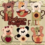 Autumn Bears and Cups - Clip Art