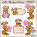 Birthday Girl Bunnies - Clip Art