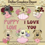 Puppy Peekers - Valentines - Clip Art