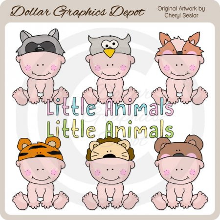 Animal Hat Babies 2 - Clip Art - *DGD Exclusive*