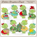Pretty Turtles Decorate The Tree - Clip Art - *DGD Exclusive*